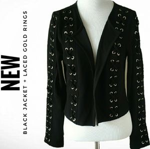 NEW BLACK + GOLD LACED FASHION JACKET (SIZE M-L)